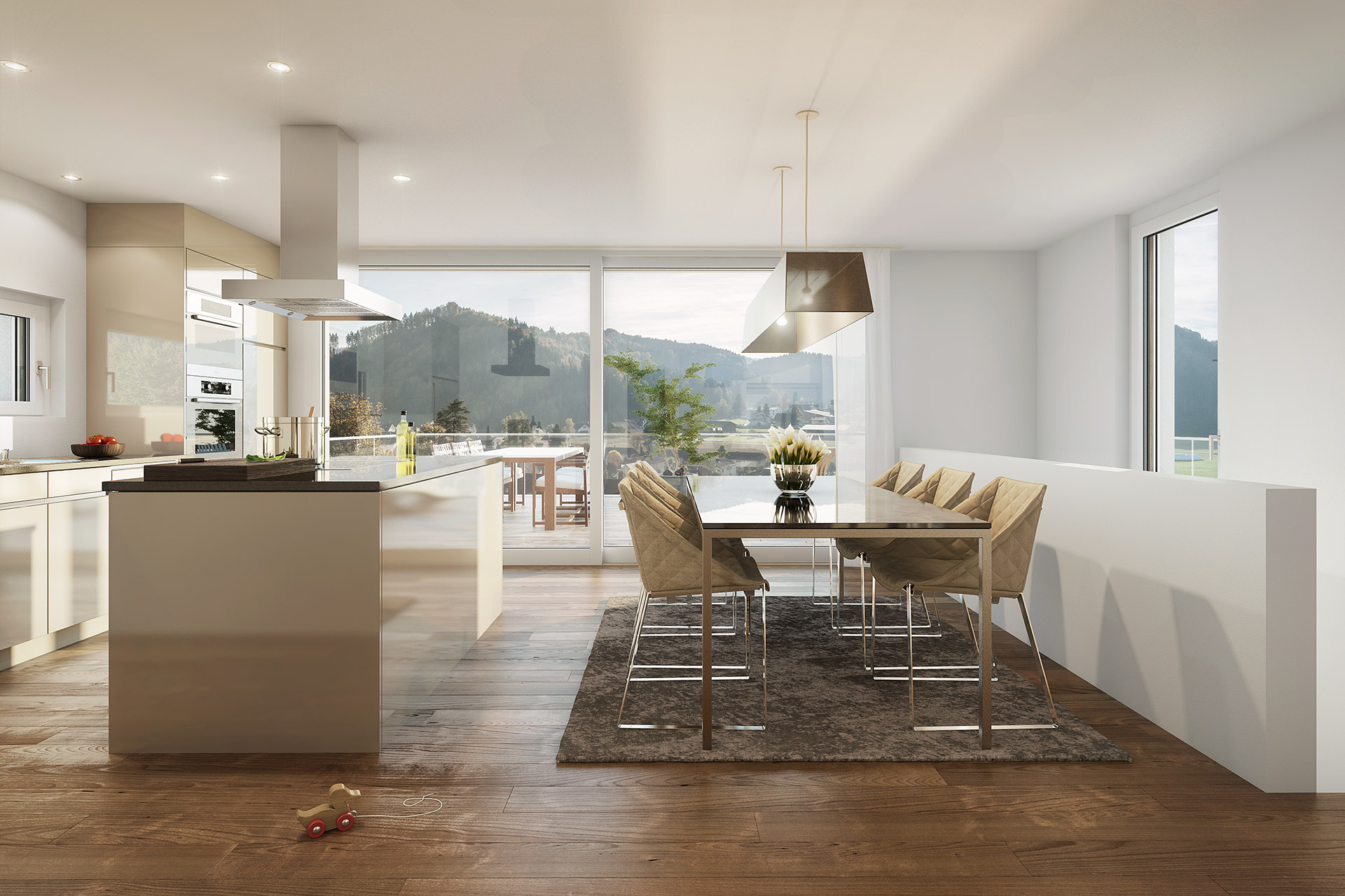 «Sunnehügel» Dussnang – Küche Essen Terrasse