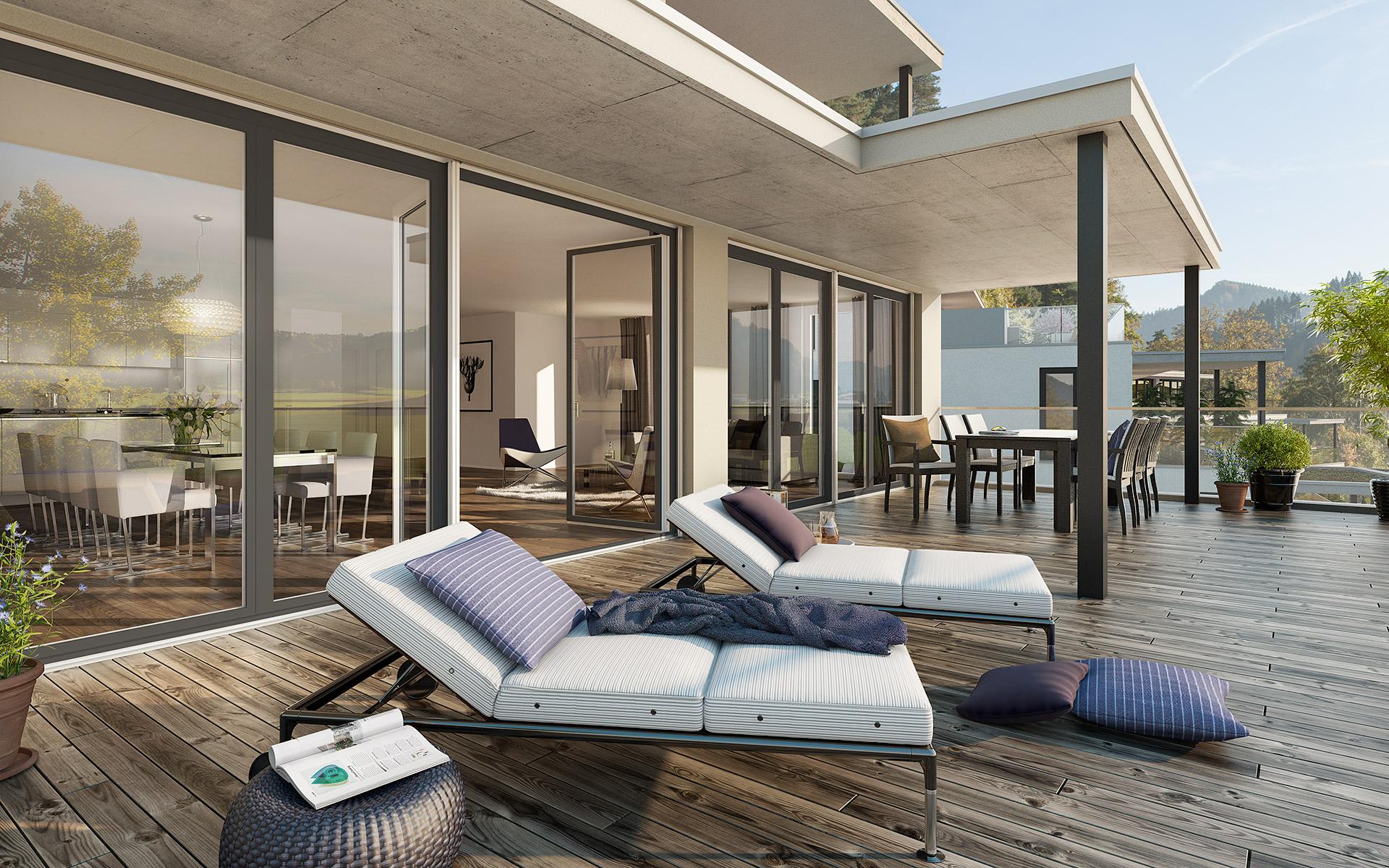 Terrasse Eigentumswohnung «Sunnehügel Hushalden» Dussnang