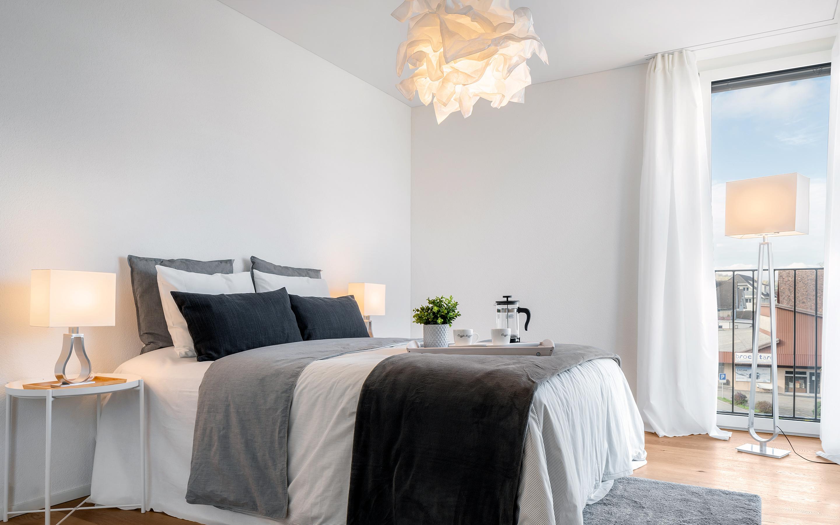 «Im Chärn» Boswil, Schlafzimmer (Musterwohnung)